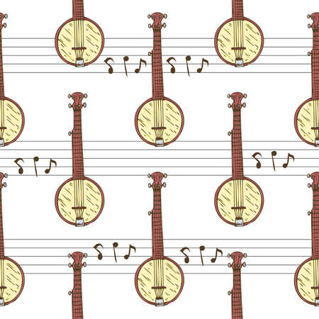 Seamless Vector Pattern. Wooden Banjo and Notes on a White Background