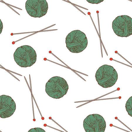 Knit Seamless Pattern. Green Yarn Balls and Needles on White Background.