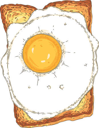 Sandwich. Toasted Sliced Bread with Fried Egg