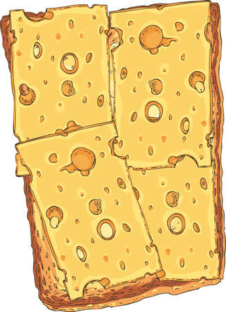 Sandwich. Toasted Sliced Bread with Cheese Illustration