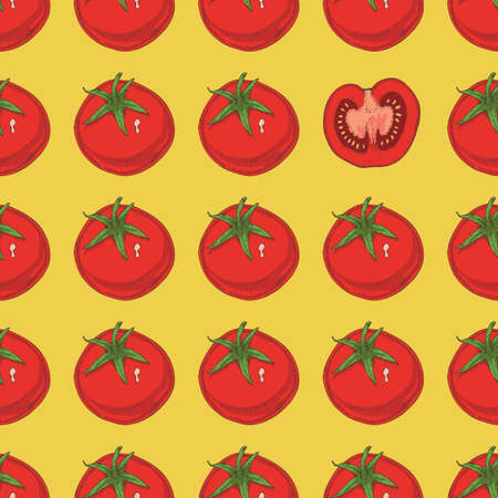 Seamless Pattern with Ripe Red Tomatoes