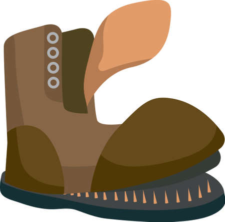 Old Brown Torn Boot. Flat Style. Isolated