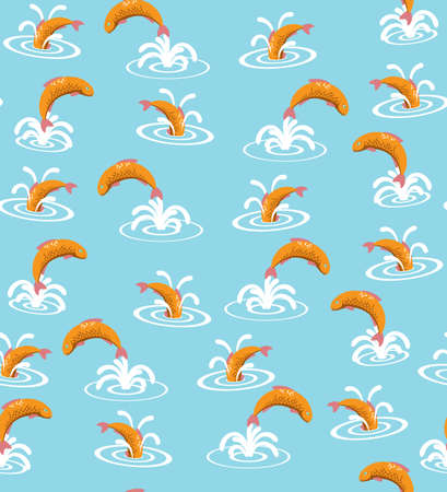 Vector Seamless Pattern with Orange Fish on Blue Background. Flat Style Illustration