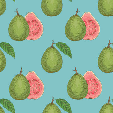 Seamless Vector Pattern with Ripe Guava with Leaf  イラスト・ベクター素材