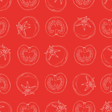 Seamless Pattern with White Contours of Tomatoes on a Red Background Illustration
