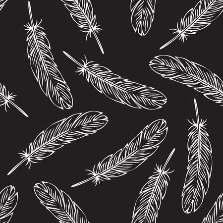 White Contours ow Black Bird Feather.Seamless Vector Pattern on a Black Background