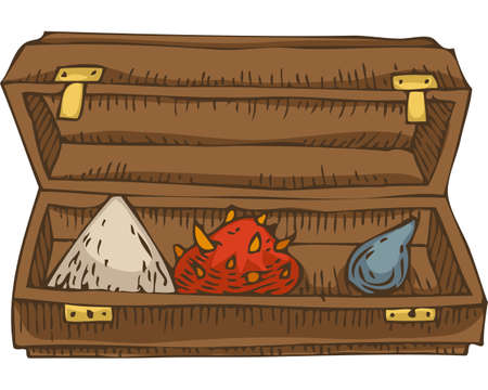 Alchemical Ingredients. Amanita mushroom, Pyramid in a Wooden Box Ilustrace