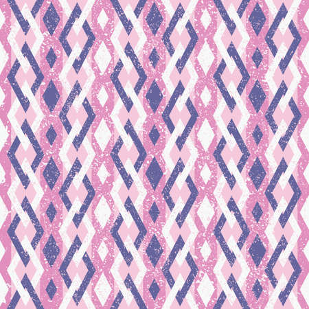 Abstract Seamless Geometric Color Pattern in Retro Style. Pink and Violet