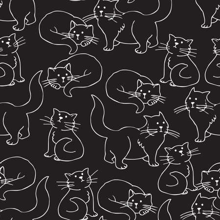 Seamless Pattern with White Contours of Cats on a Black Background