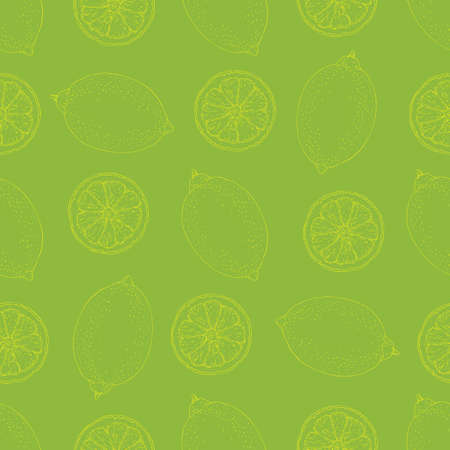 Seamless Pattern with Yellow Contours of Lemon Slices and Whole Lemons on Green Background