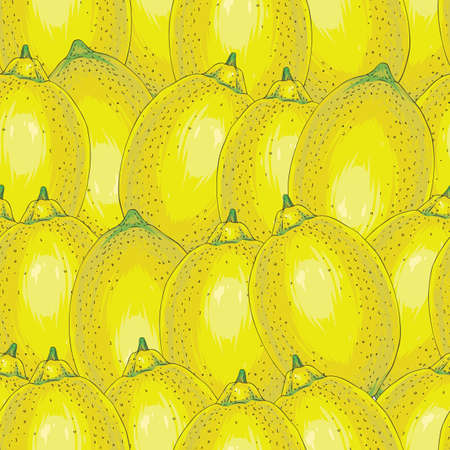 Seamless Pattern with Hand Drawn Ripe Whole Lemons Illustration
