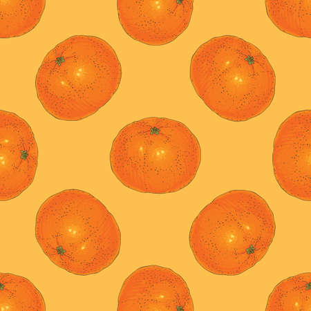 Seamless Pattern with Tangerine on a Orange Background