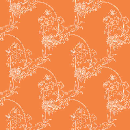 Orange Seamless Pattern. White Contours. Vector Illustration