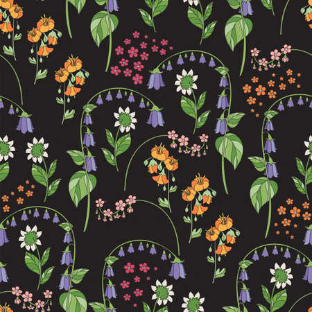 Floral Seamless Pattern on Black Background. Vector Illustration