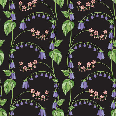 Floral Seamless Pattern with Campanula on Black Background. Vector Illustration