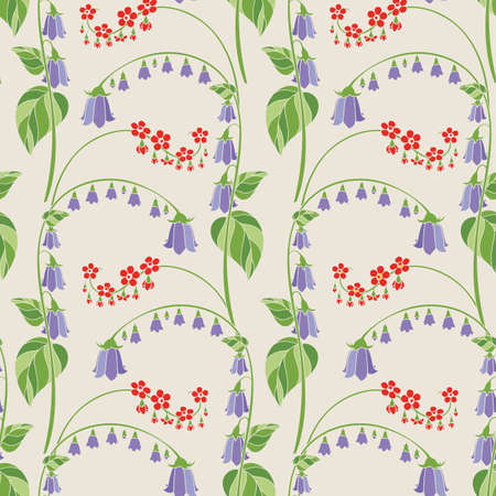 Floral Seamless Pattern with Campanula on Beige Background. Vector Illustration