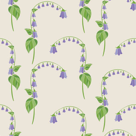 Floral Seamless Pattern with Violet Campanula on Beige Background. Vector Illustration