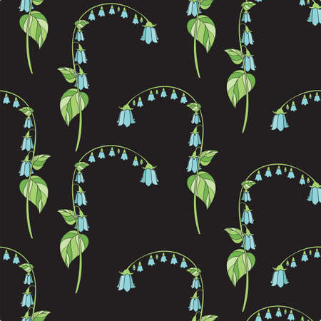 Floral Seamless Pattern with Blue Campanula on Black Background. Vector Illustration