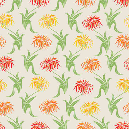 Floral Seamless Pattern with Orange, Yellow and Red Aster Flowers on Beige Background. Vector Illustration
