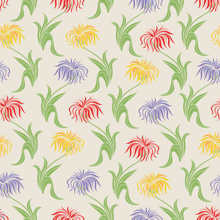 Floral Seamless Pattern with Violet, Yellow and Red Aster Flowers on Beige Background. Vector Illustration