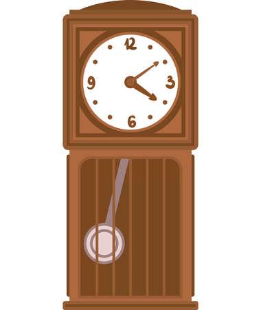 Retro Brown Clock with Pendulum in Flat Style