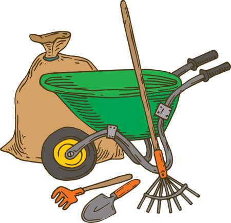 Garden Tools Composition. Bag, Rake, Wheelbarrow and Trowel. Isolated on White Illustration