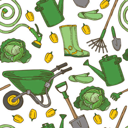 Green and Yellow Seamless pattern With Garden Tools and Vegetables on White Background