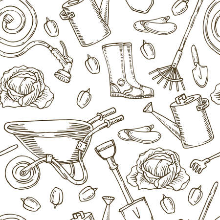 Seamless Pattern for Coloring With Garden Tools and Vegetables on White Background
