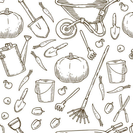 Pattern for Coloring. Garden Tools and Vegetables