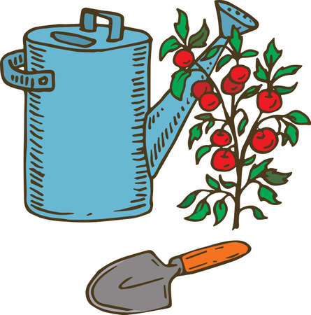 Blue Watering Can, Trowel and Tomato Plant Illustration