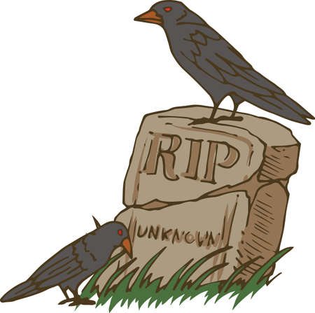 Two Black Crows and Old Unknown Gravestone. Halloween Composition