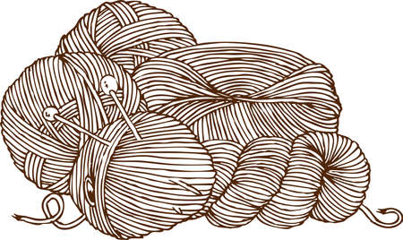 Knitting Logo. Yarn and Needles