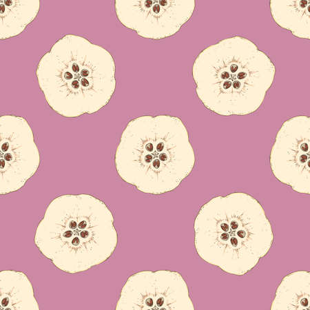 Seamless Pattern with Ripe Quince in Cross Section
