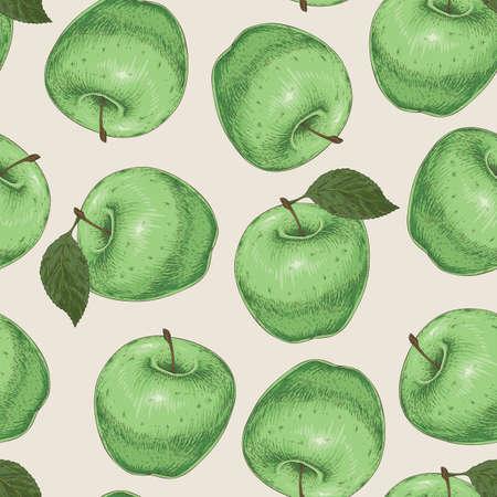 Modèle sans couture avec des pommes vertes sur fond beige clair Vecteurs