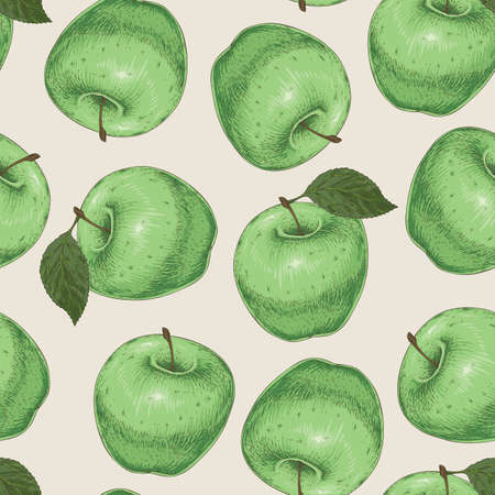 Seamless Pattern with Green Apples on Light Beige Background