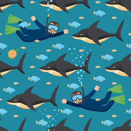 Underwater Seamless Pattern with Sharks, Fishes and Scuba Diver. Vector Illustration in Flat Style Çizim