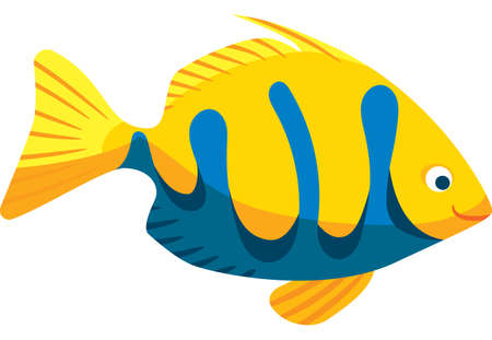 Yellow and Blue Smiling Fish. Vector Character in Flat Style