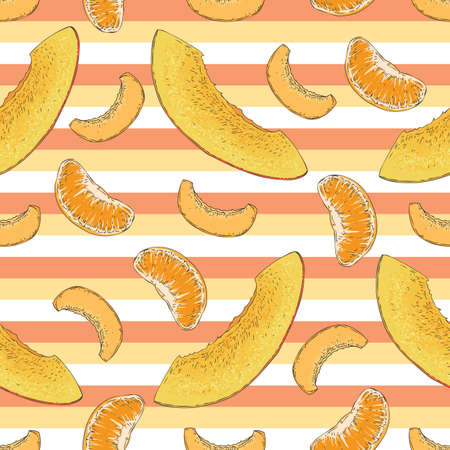 Striped Seamless Pattern with Ripe Mango, Apricot, Tangerine Slices Stock Illustratie