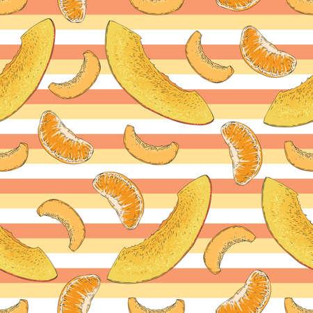 Striped Seamless Pattern with Ripe Mango, Apricot, Tangerine Slices Illustration