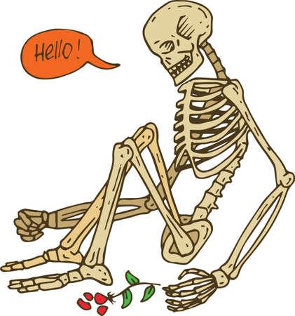 Sitting Skeleton with Flower
