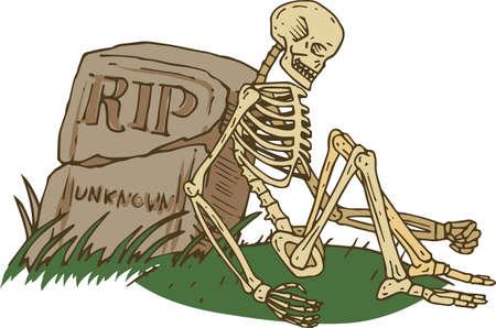 Skeleton Sitting Beside Old Gravestone