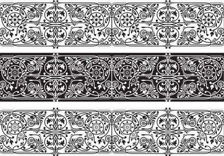 Black and White Floral Borders Collection. Three Seamless Vector Band