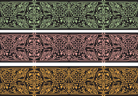 Floral Borders Collection. Three Seamless Vector Band Ilustração