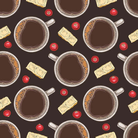 Seamless Vector Pattern with Coffee, White Chocolate and Cranberry on Dark Brown Background Ilustração