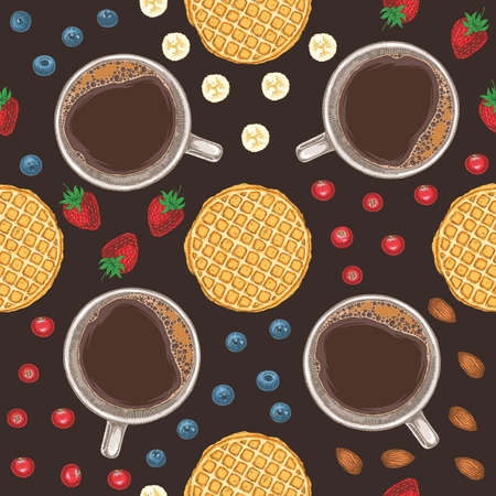 Seamless Vector Pattern with Coffee, Cranberry, Blueberry, Banana, Strawberry, Waffle and Almond on Dark Brown Background