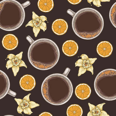 Seamless Vector Pattern with Coffee, Vanilla Flowers and Orange Slices on Dark Brown Background