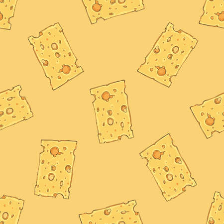Seamless Pattern. Cheese with Holes Slice. Yellow Background