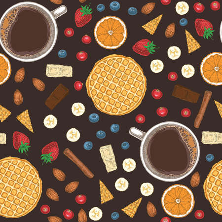 Seamless Vector Pattern with Coffee, Almond, Fruits, Berries and Sweets on Dark Brown Background
