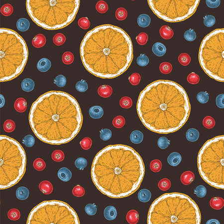 Seamless Vector Pattern with Cranberry, Blueberry and Orange Slices on Dark Brown Background