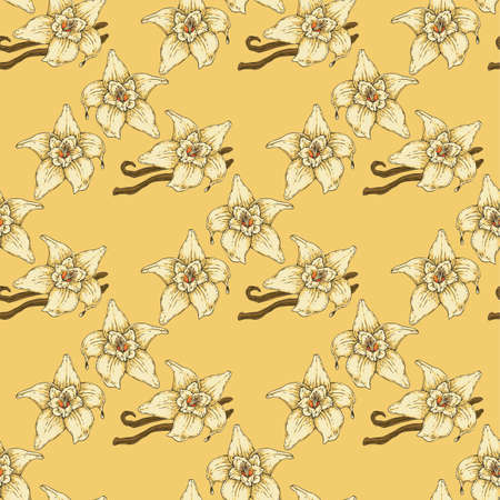 Seamless Pattern with Vanilla Flower and Two Sticks on aYellow Background